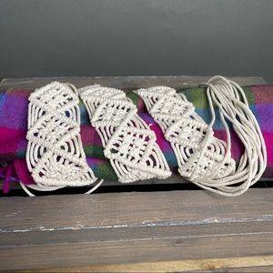 White Crochet Tie Fringe Belt One Size